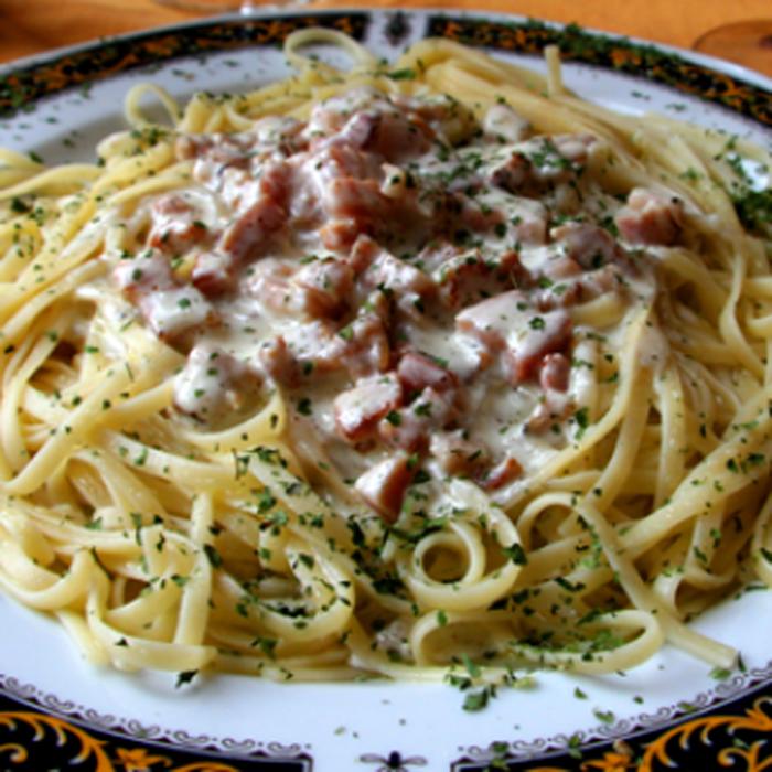 spaghetti con panna