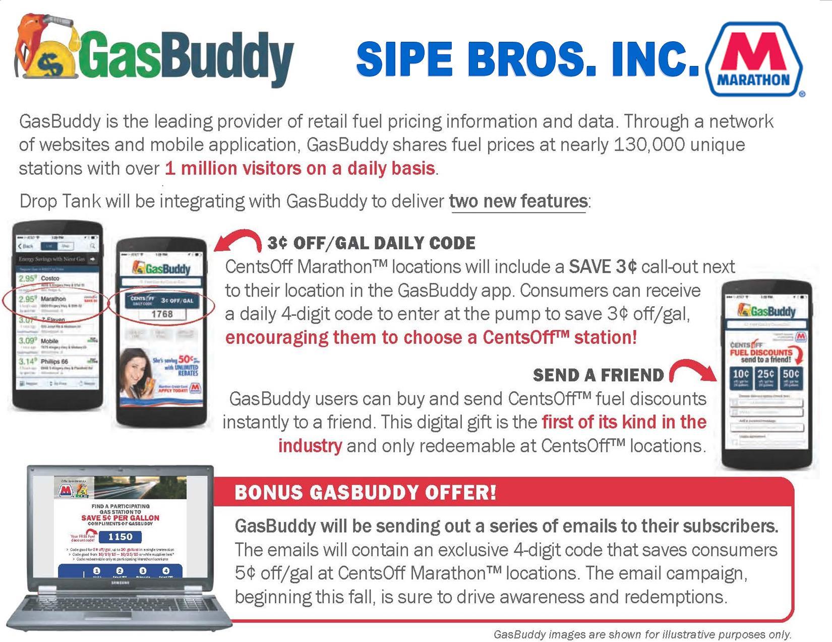 GasBuddy Daily Gas Code at Sipe Bros-Marathon