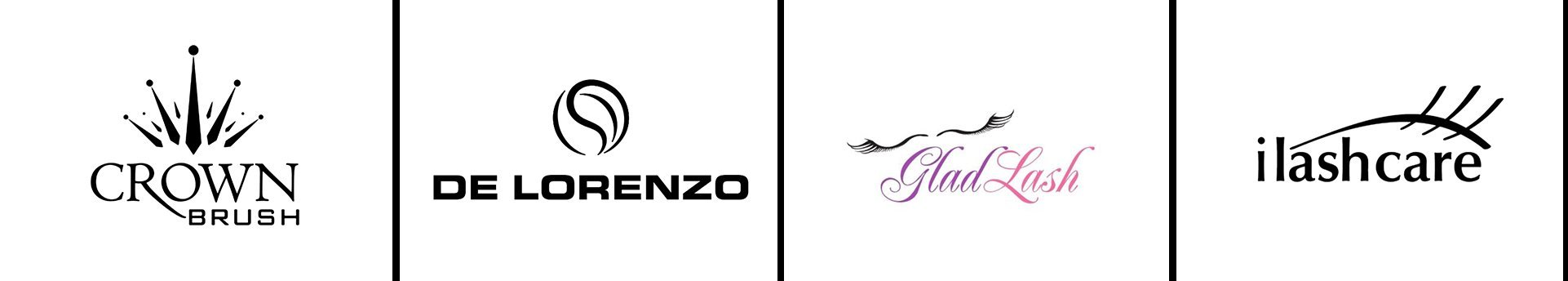 the makeup mirror crown brushes logo delorenzo logo glasd lash logo ilash care logo