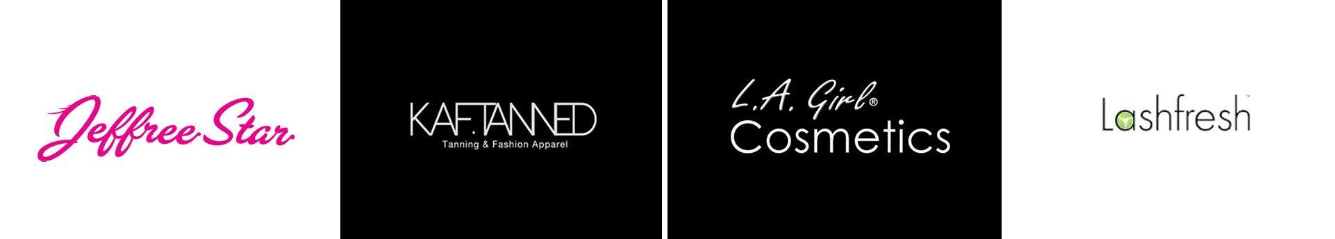 the makeup mirror jeffree star logo kaftanned logo l a girl logo lash fresh logo