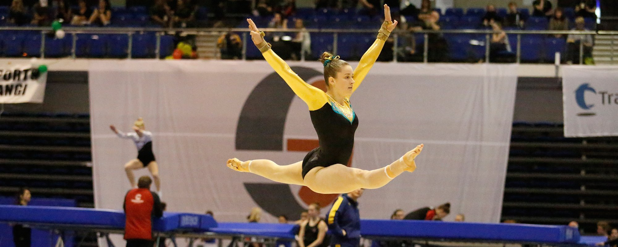 Young gymnast performing