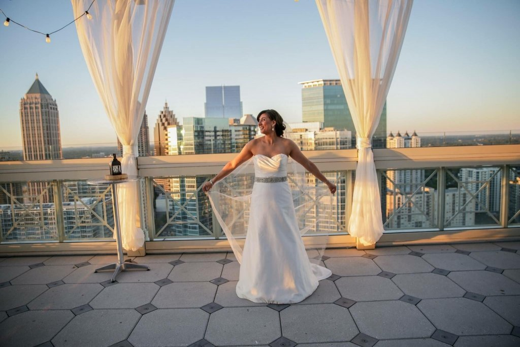 A bride at rooftop venue