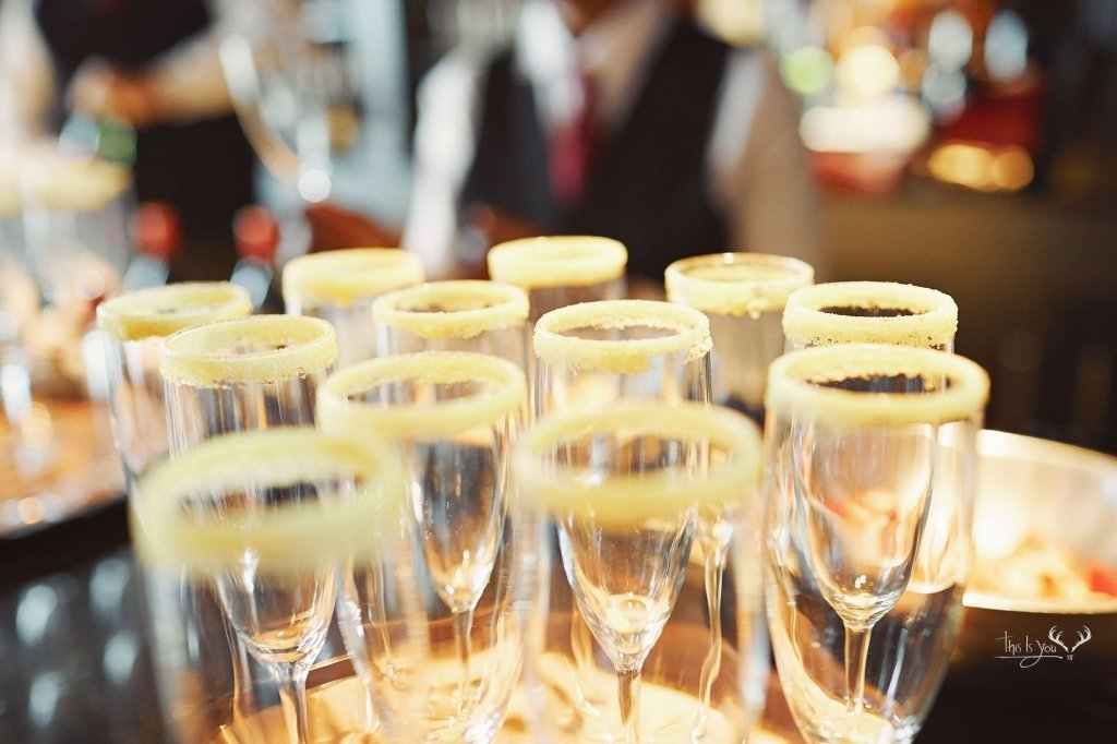 Wine glasses at wedding