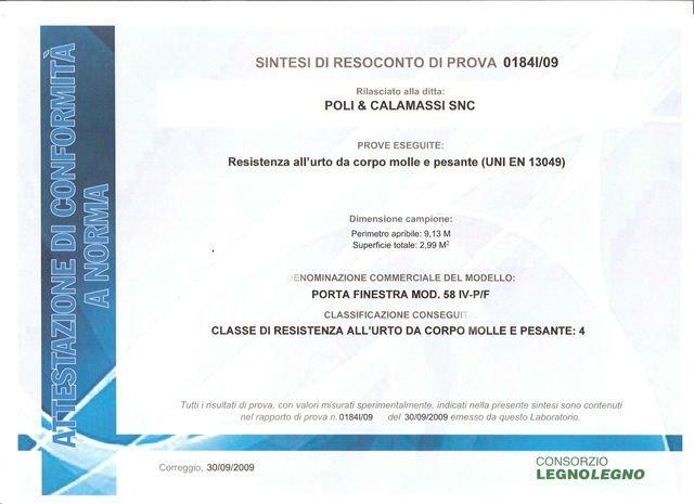 un'attestazione conformità' a norma  rilasciato alla ditta Poli & Calamassi SNC