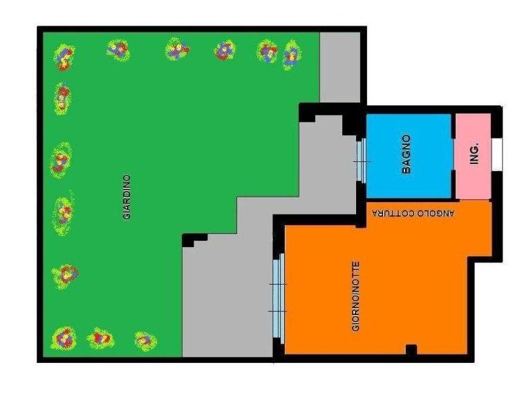 piantina monolocale giardino cambiago