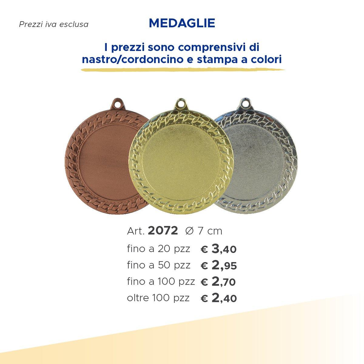 medaglie piccole in argento e oro