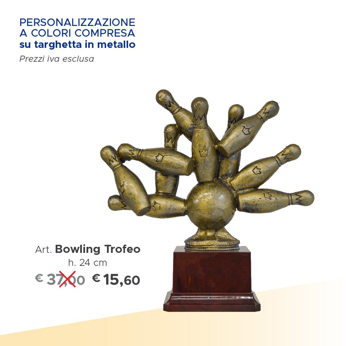 un trofeo di bowling e accanto il prezzo