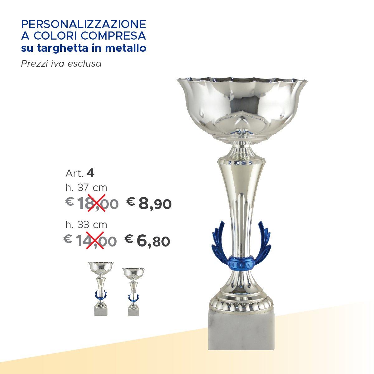 una coppa argentata e sulla sinistra il prezzo