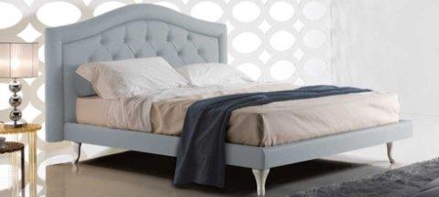 letto, imbottito, grigio