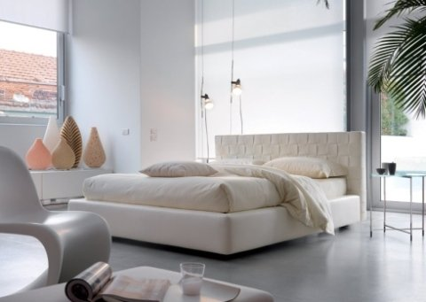 letto, imbottito, bianco