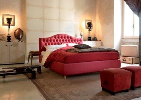 letto, imbottito, rosso