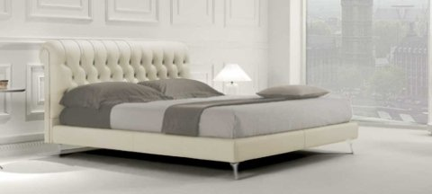 letto, ecopelle, bianco