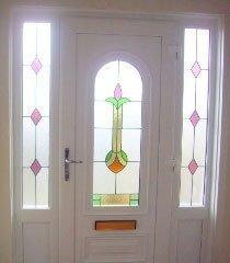 decorative glass in a front door