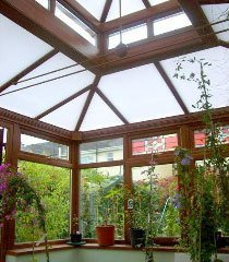 skylight in a conservatory
