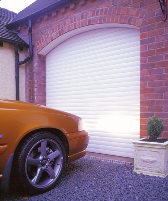 custom installed white garage door