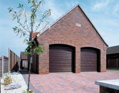 2 brown garage doors