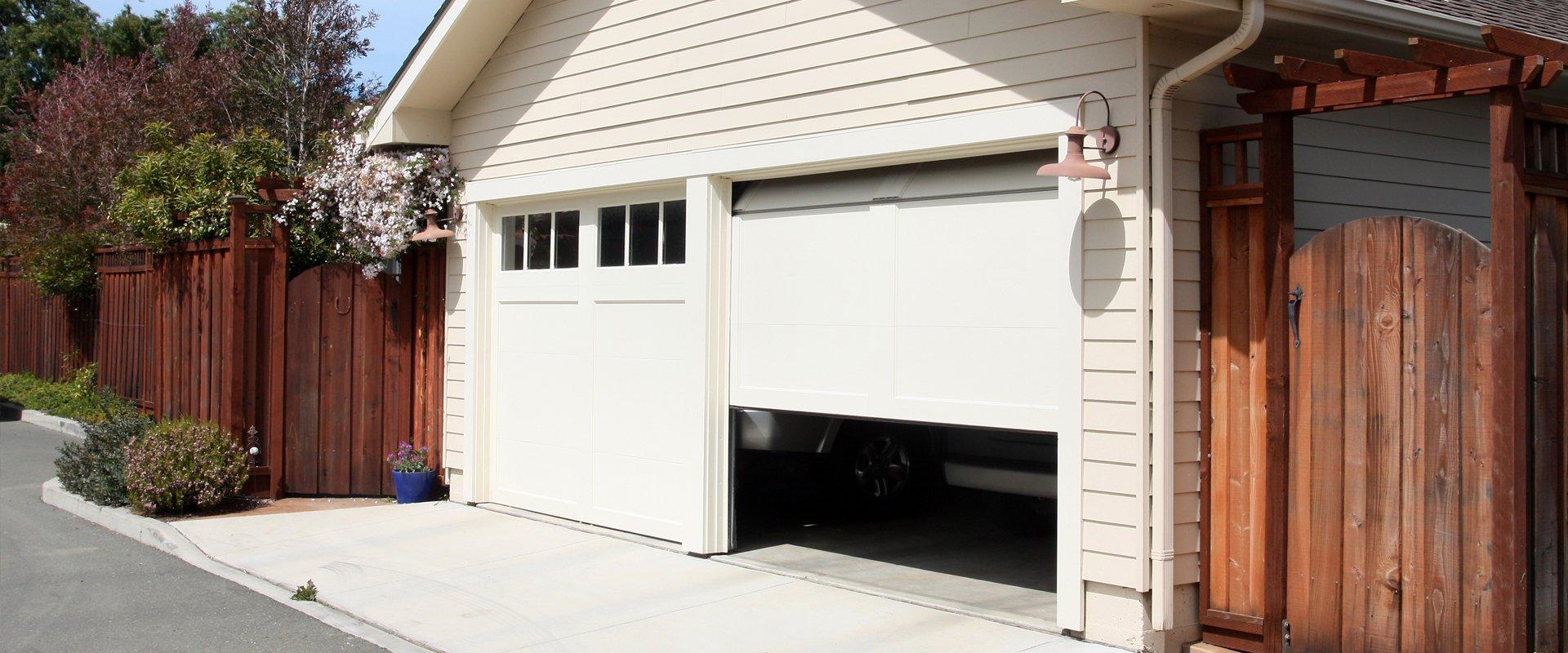 partially opened garage door