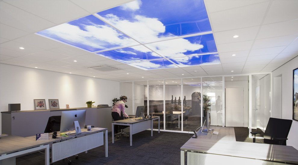 Led suspended ceiling sky panel feature lighting open office feature suspended ceiling lighting mozeypictures Image collections