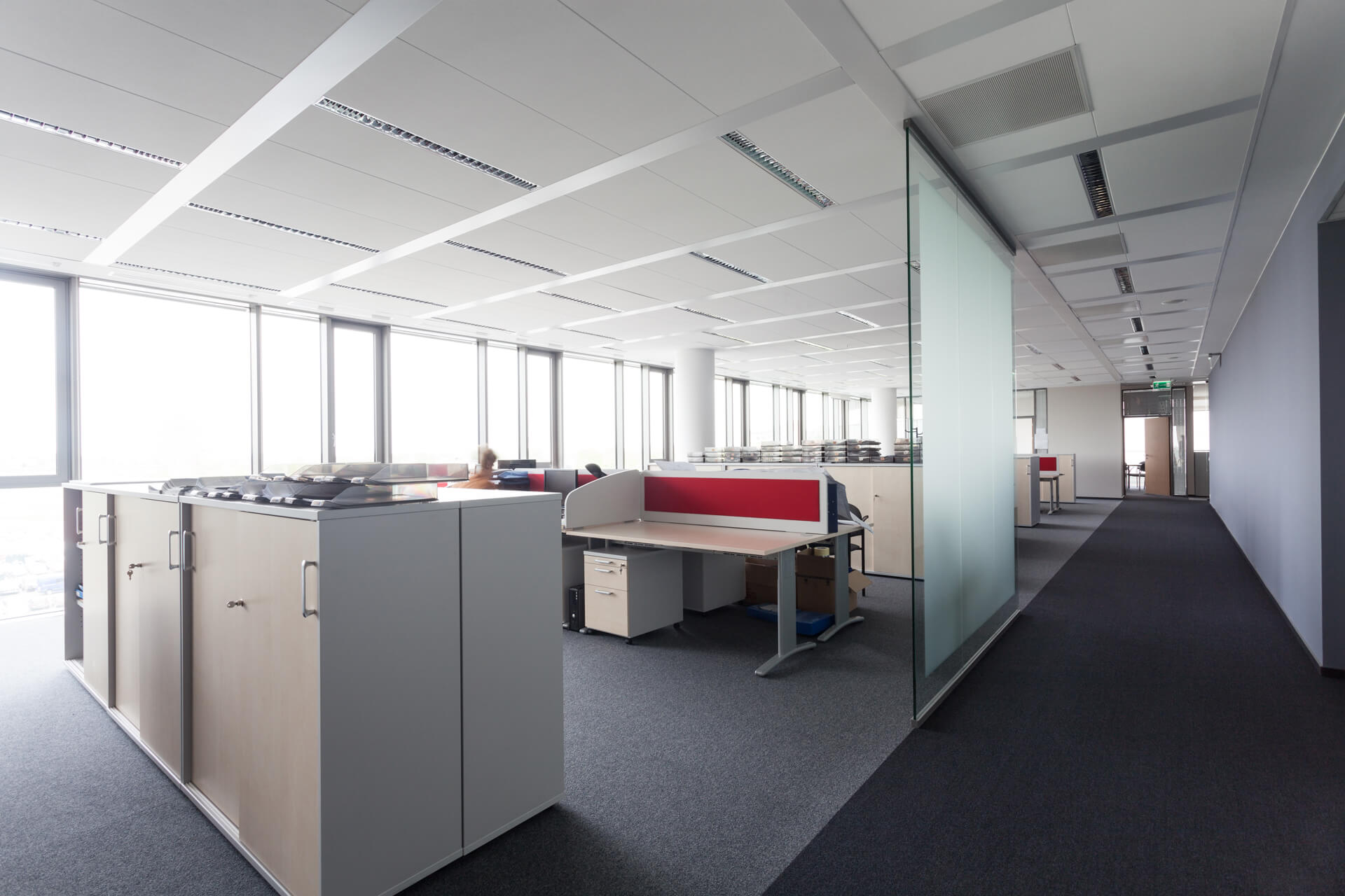 Glass office partitioning, Suspended ceilings & Office furniture
