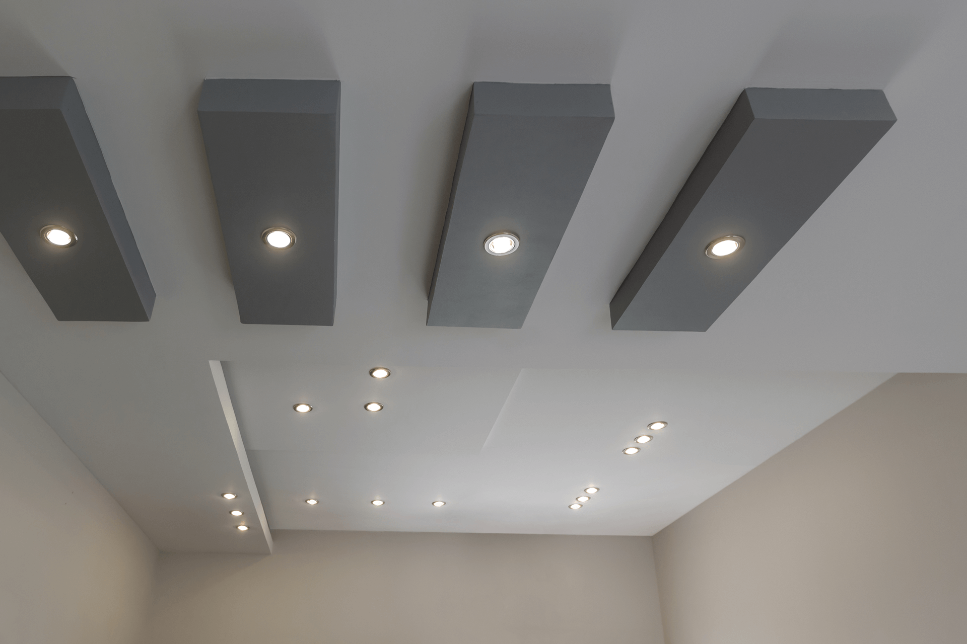 separated ceiling rectangle elements lights