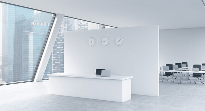 modern Office reception area white