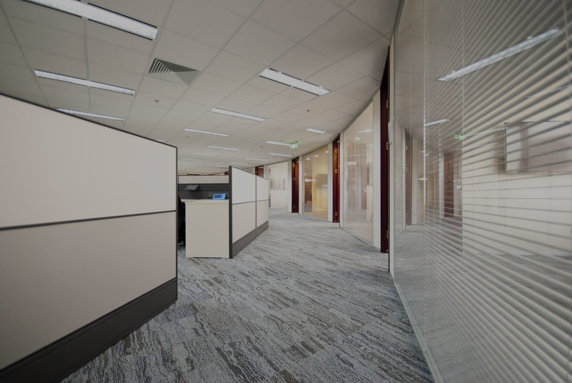 Glass office partitioning & suspended ceilings