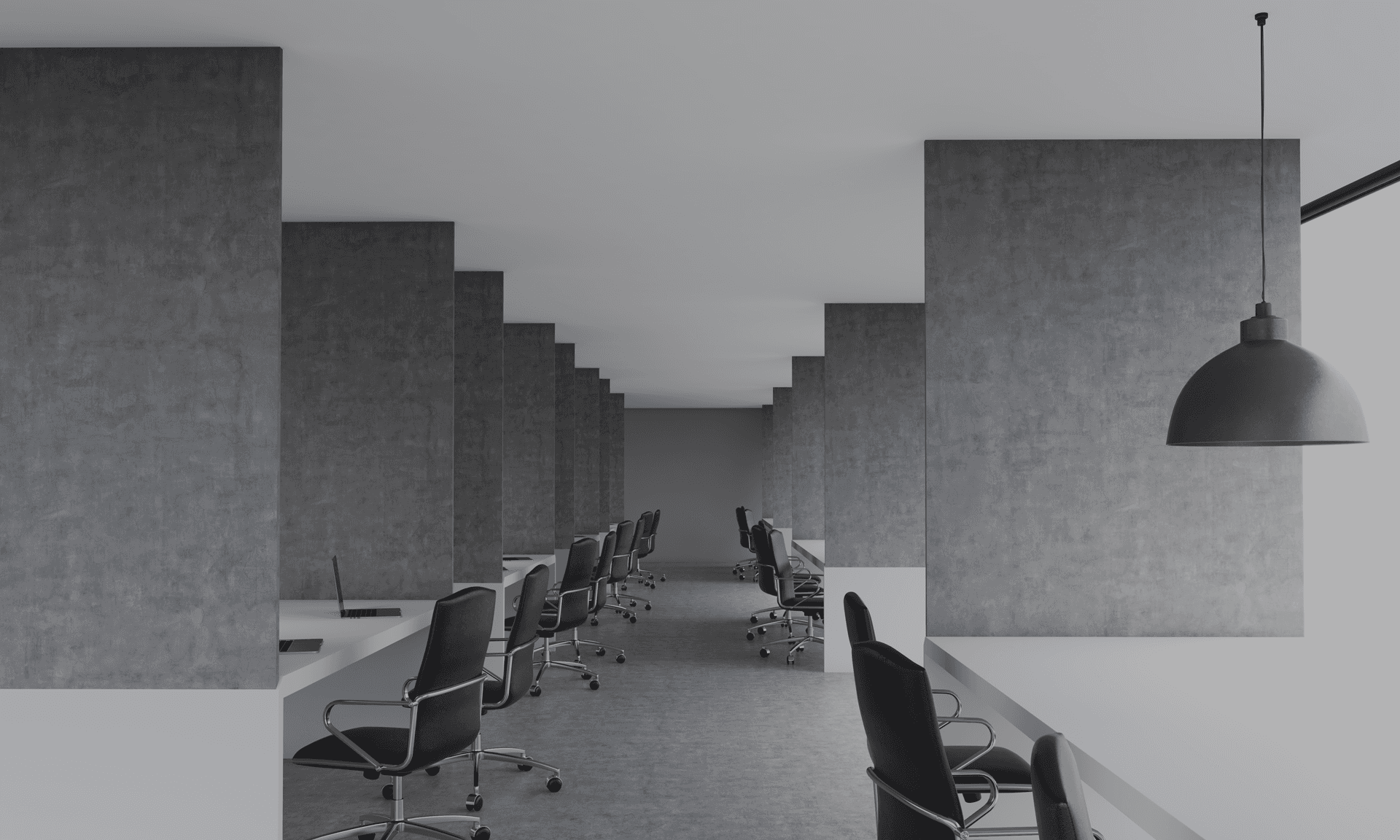 office desks separated by partitioning wall grey scale black chairs