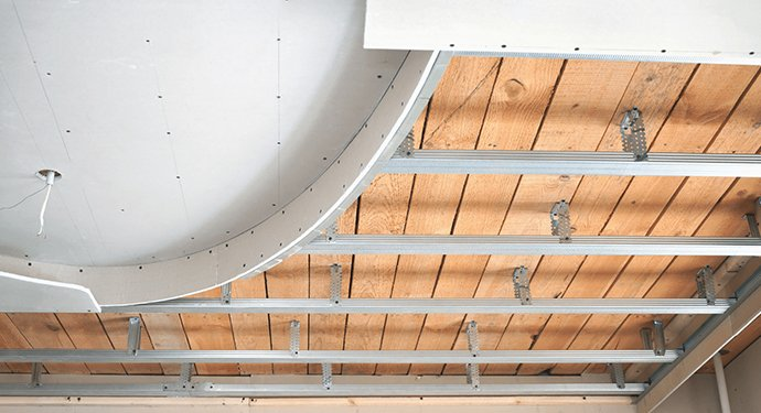 Suspended ceilng being installed