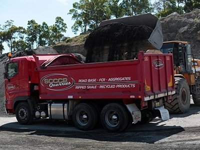 south coast concrete crushing and recycling vehicle loaded with recycled materials
