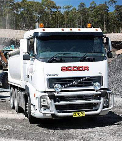 south coast concrete crushing and recycling white vehicle at quarry front view