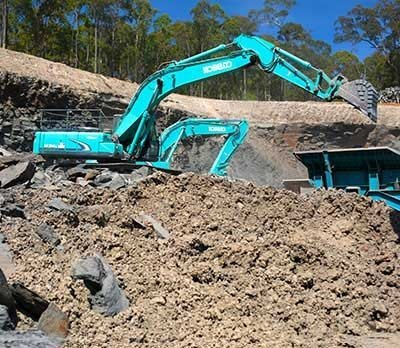 Bulldozers doing road base construction in Shoalhaven