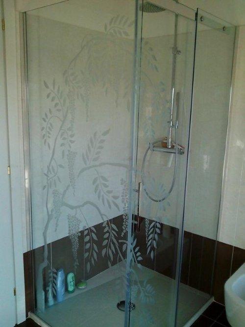 una vetrata di un box doccia con una pianta disegnata