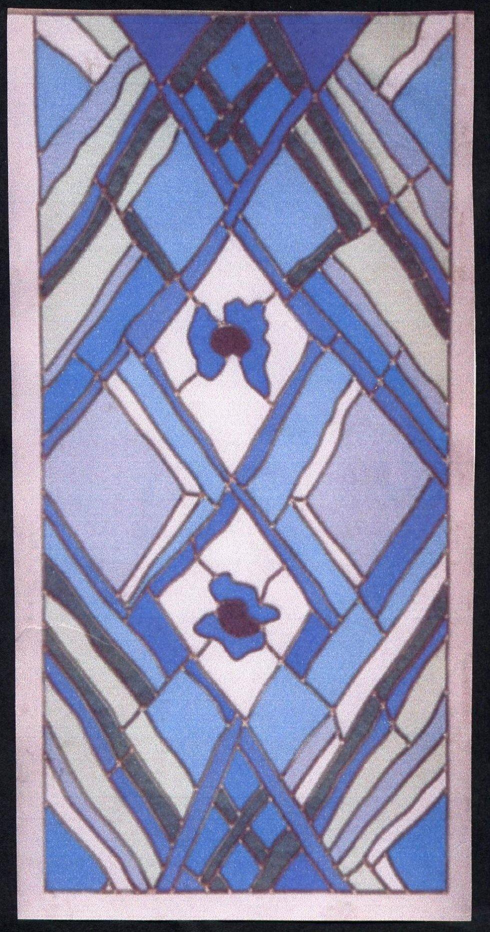 due vetrate di colore azzurro e giallo