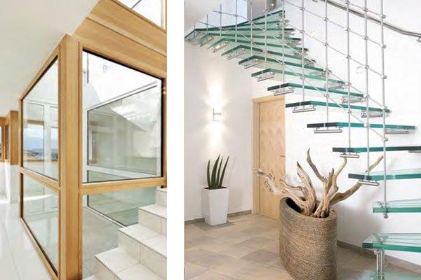 Tromba della scale chiusa con vetro e scale con gradini di vetro