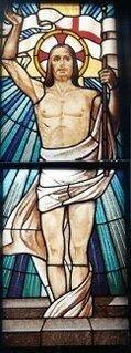 una vetrata con l'immagine di Gesù