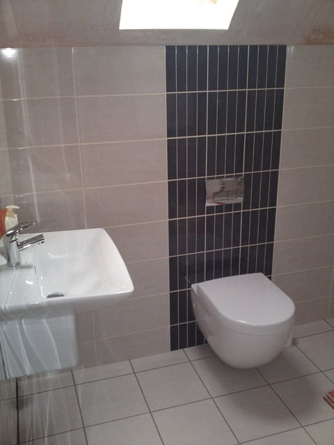 toilet mounted against dark tiles