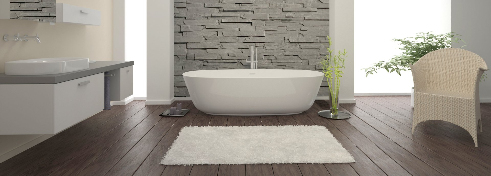 floor standing modern bath set against faux slate wall