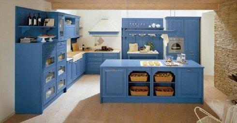 Cucina blu, cucina abitabile, arredo cucina, Eiffel, Country