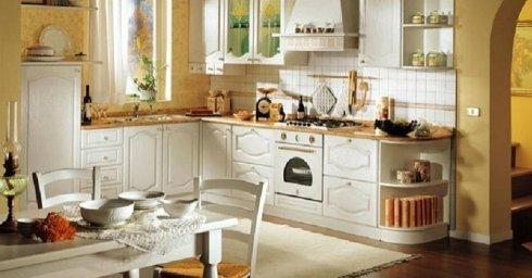 Cucina in legno bianco, cucina, cucina rustica