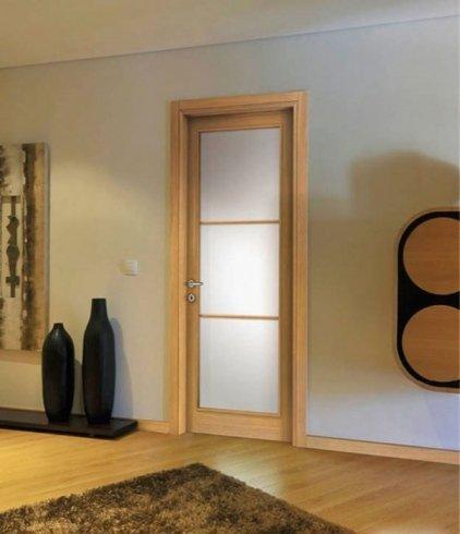 Porta a sezioni in vetro, porta, porta per interno, rovere