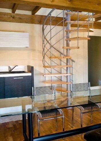 Scala in legno, scala, scaletta, inox