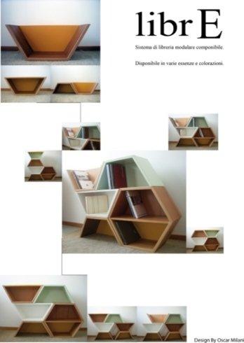 Libreria, libreria in legno, libreria di design