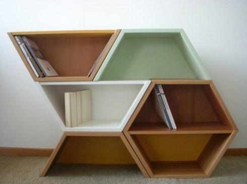 Libreria in legno, libreria particolare, arredo di design