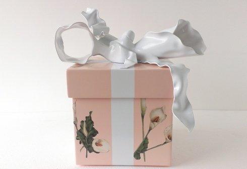 calle, scatola, nastro, fiocco, decoupage, fiore