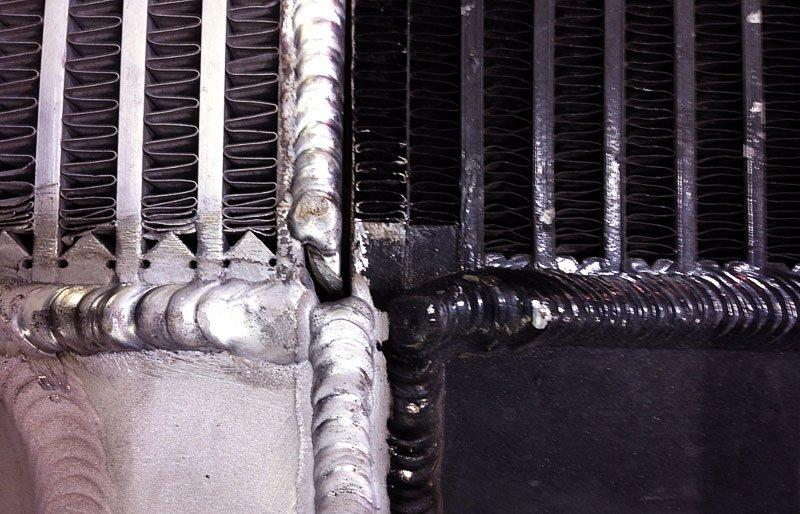 Closeup of welds made in radiators