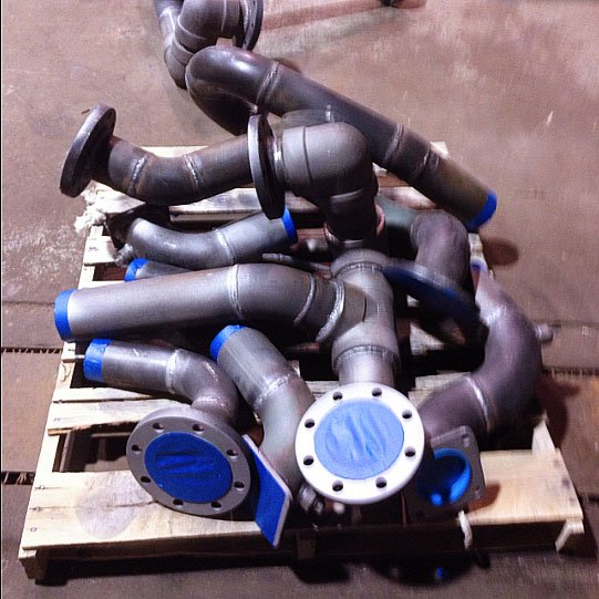 Several pipe parts