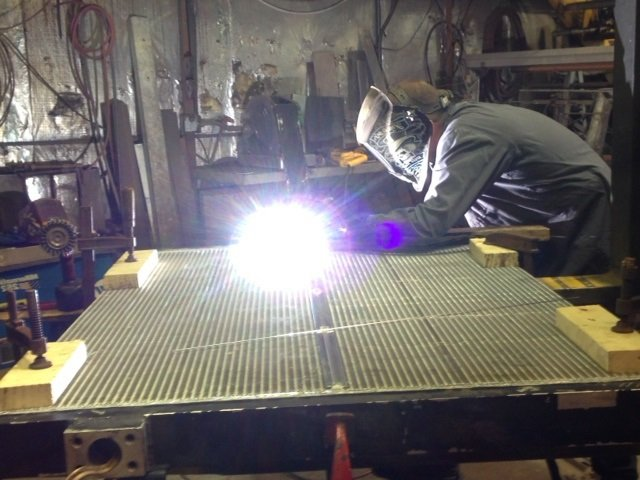 Rick welding the tanks onto the aluminum core