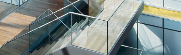 glass in stairs in modern building