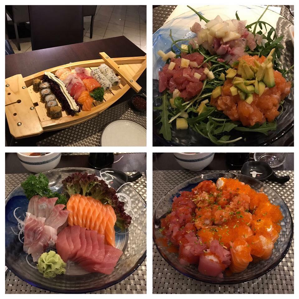 Quattro piatti con diverse specialitá giapponese
