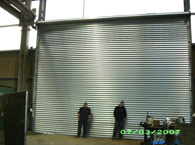 Experts in front of newly serviced garage door